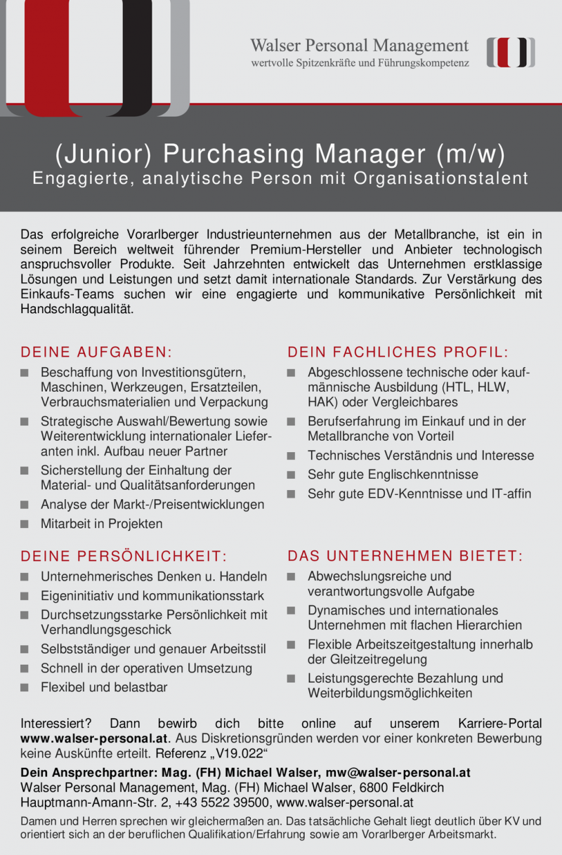 (Junior) Purchasing Manager (m/w)