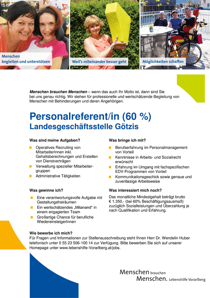 Personalreferent/in (60 %)