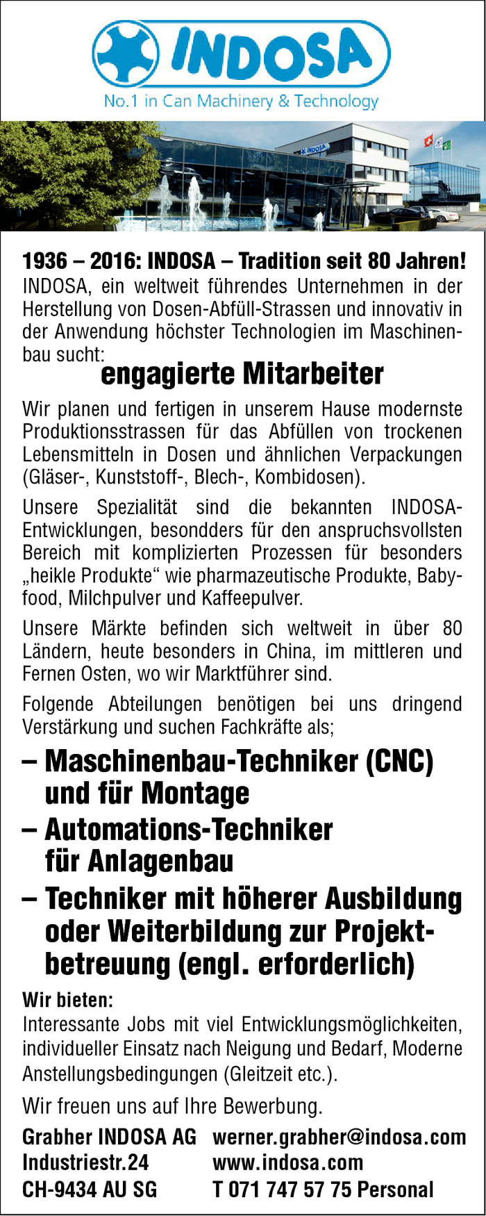 Maschinenbau-Techniker/in, Automations-Techniker/in, Techniker/in Projektbetreuung