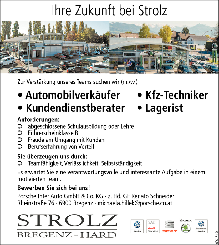 Automobilverkäufer/in, Kfz-Techniker/in, Kundendienstberater/in, Lagerist/in