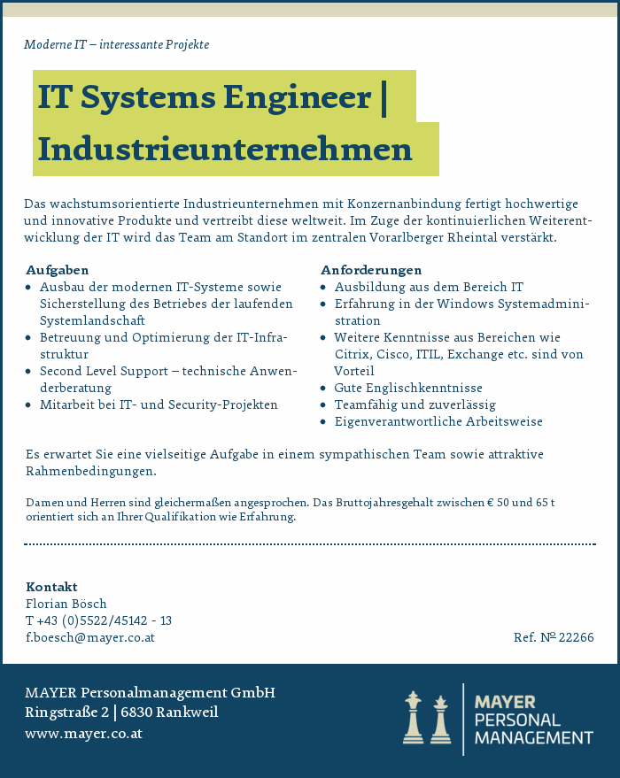 IT Systems Engineer | Industrieunternehmen