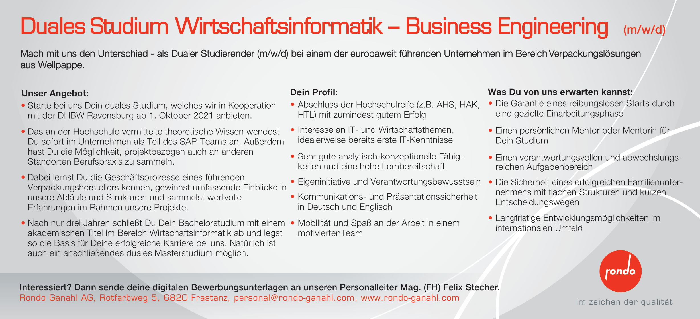Duales Studium Wirtschaftsinformatik - Business Engineering