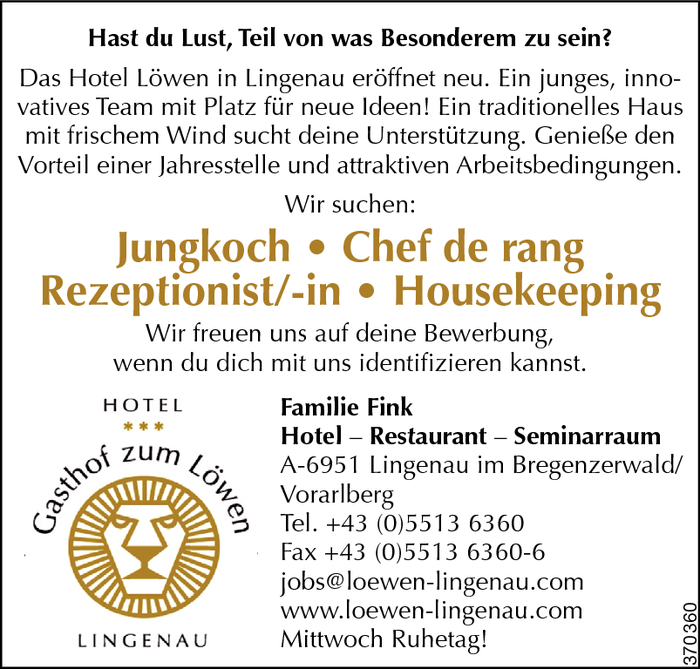 Jungkoch/Jungköchin, Chef de rang, Rezeptionist/in, Housekeeping