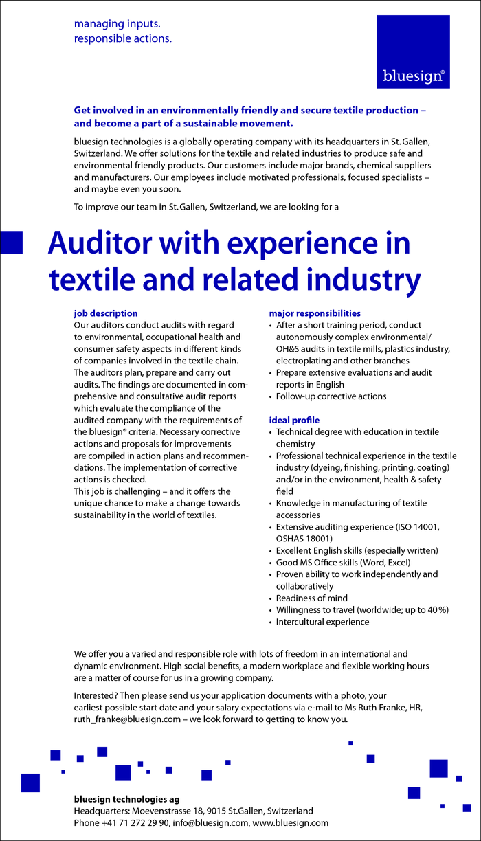 Auditor with experience in textile and related industry