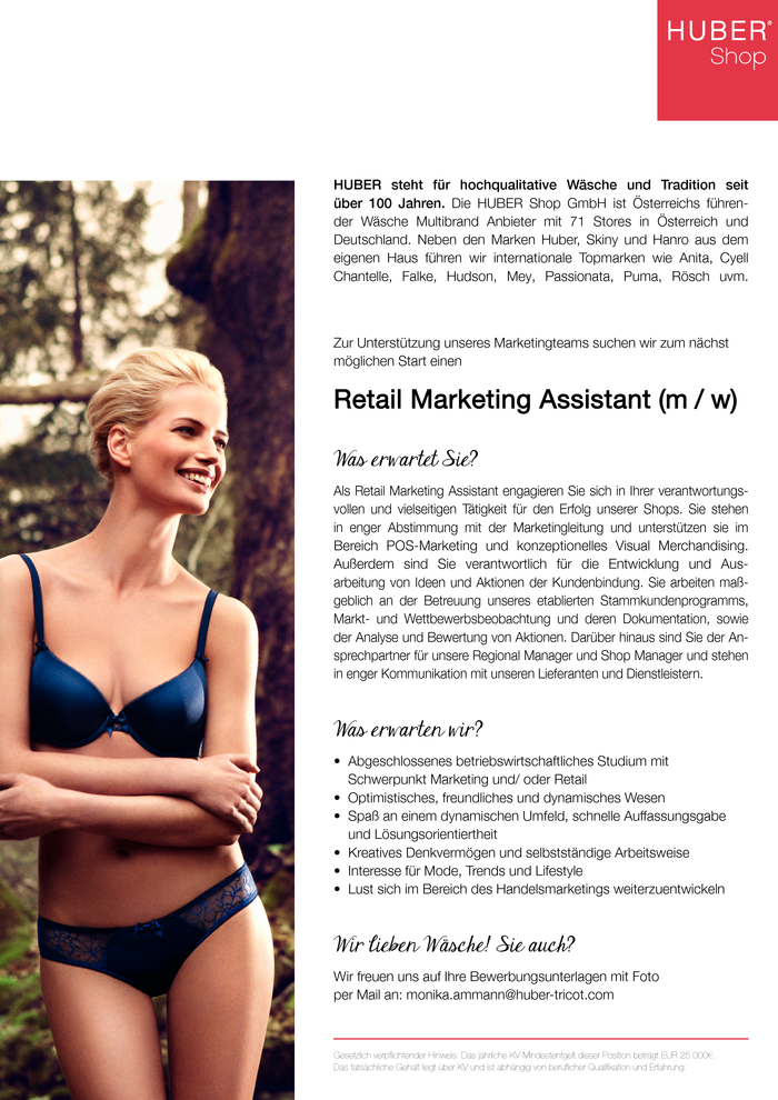 Retail Marketing Assistant (m/w)