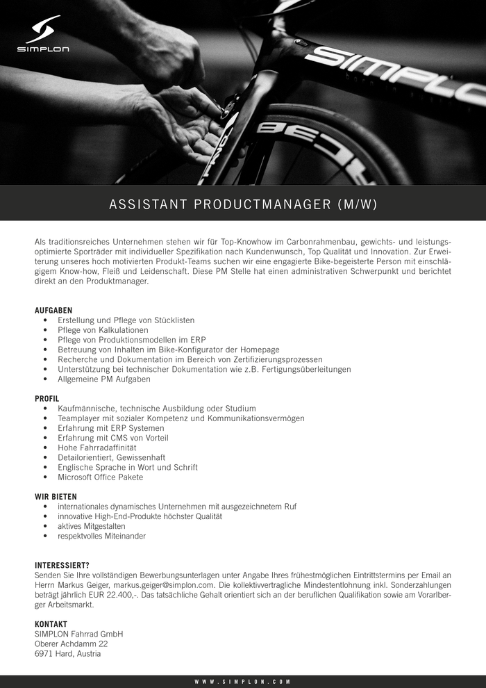Assistant Productmanager m/w