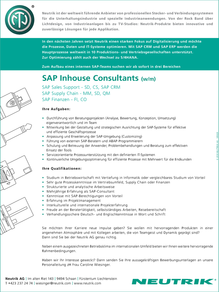 SAP Inhouse Consultants  (w/m)