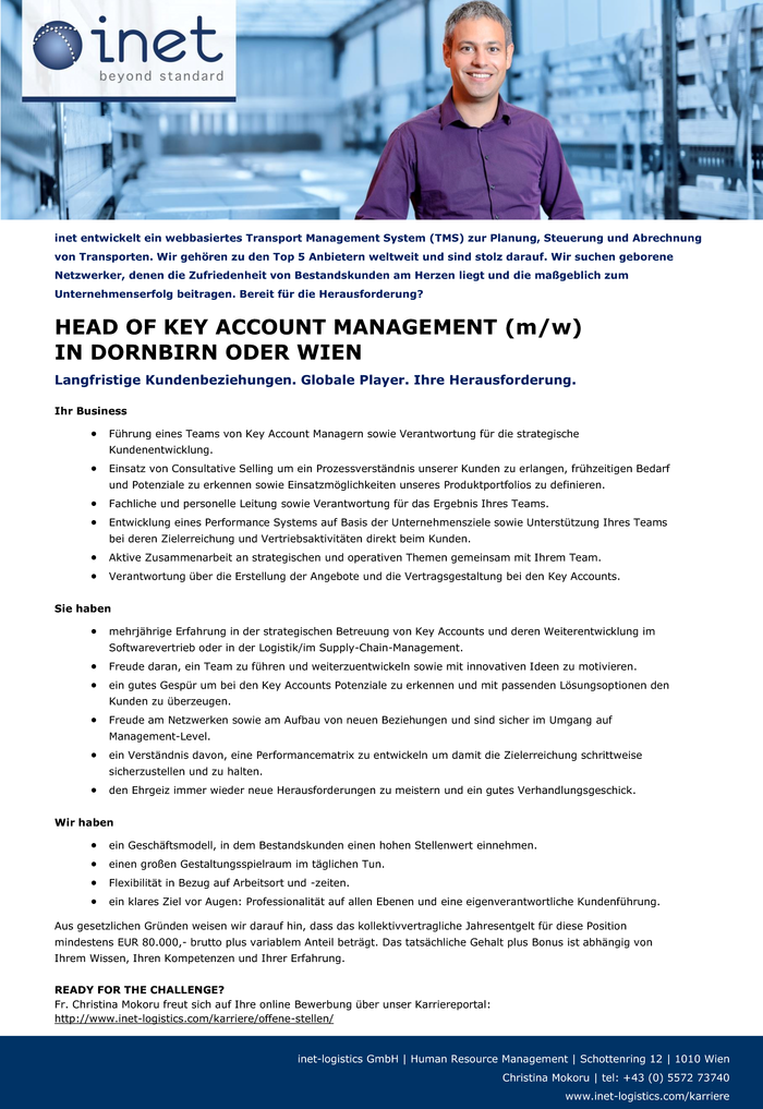 HEAD OF KEY ACCOUNT MANAGEMENT (M/W) IN DORNBIRN ODER WIEN