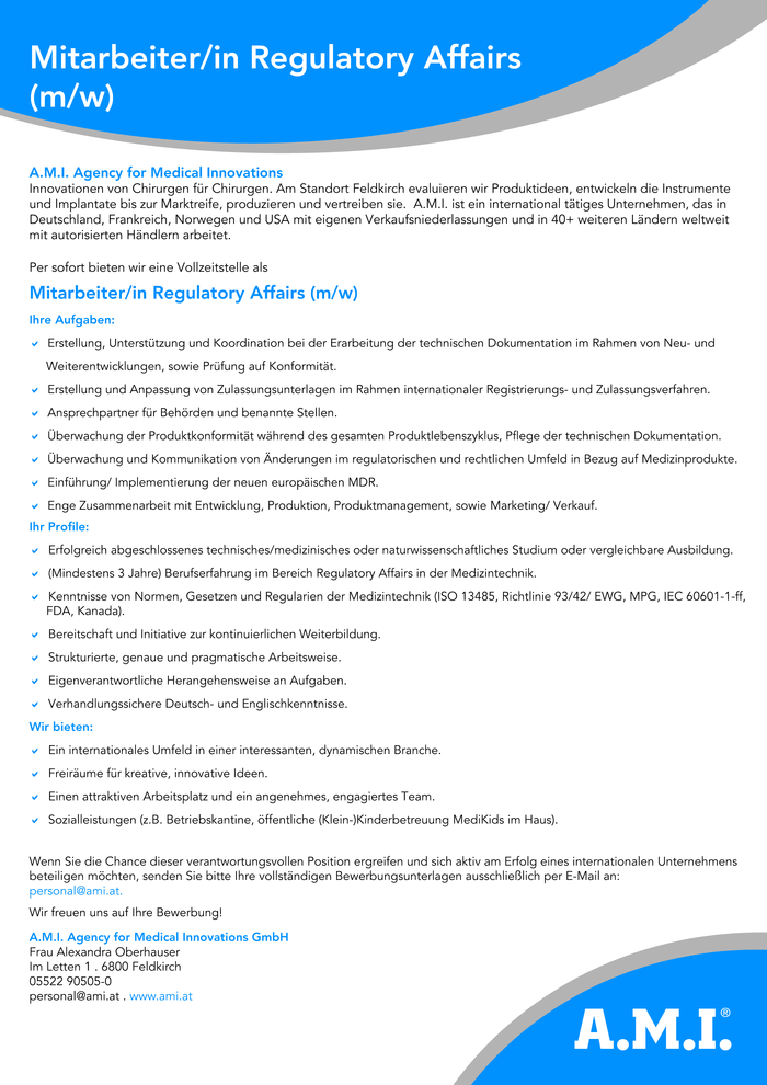Mitarbeiter/in Regulatory Affairs (m/w)