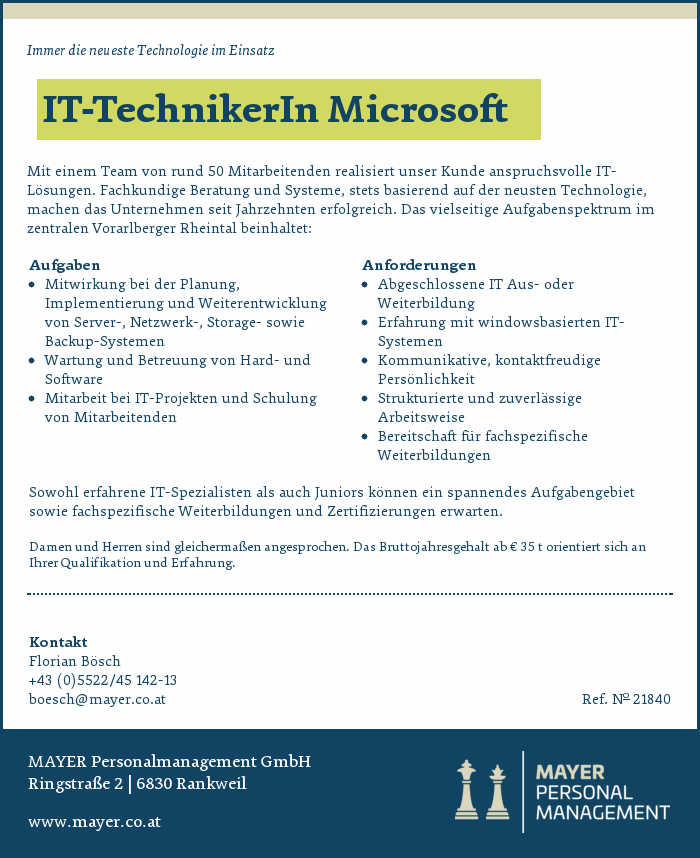 IT-TechnikerIn Microsoft