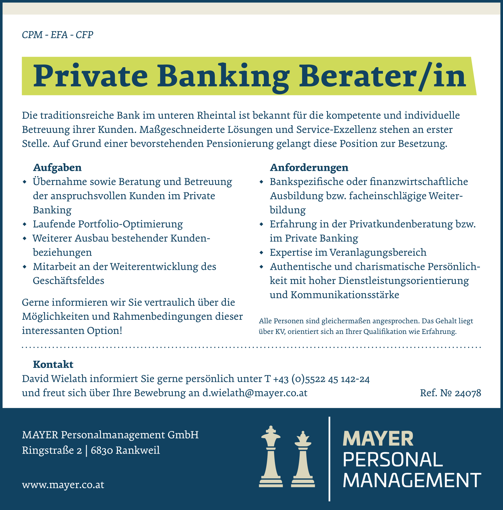 Private Banking Berater/in
