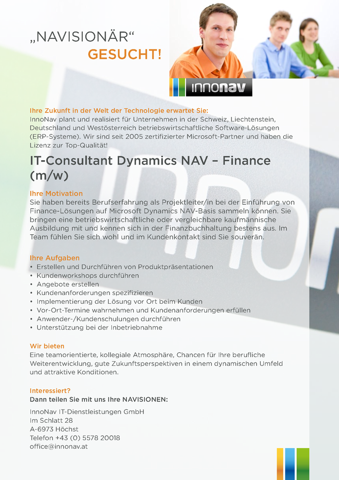 IT-Consultant Dynamics NAV - Finance (m/w)
