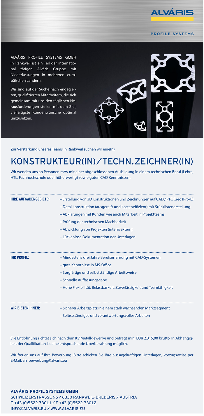 Konstrukteur(in)/Techn. Zeichner(in)