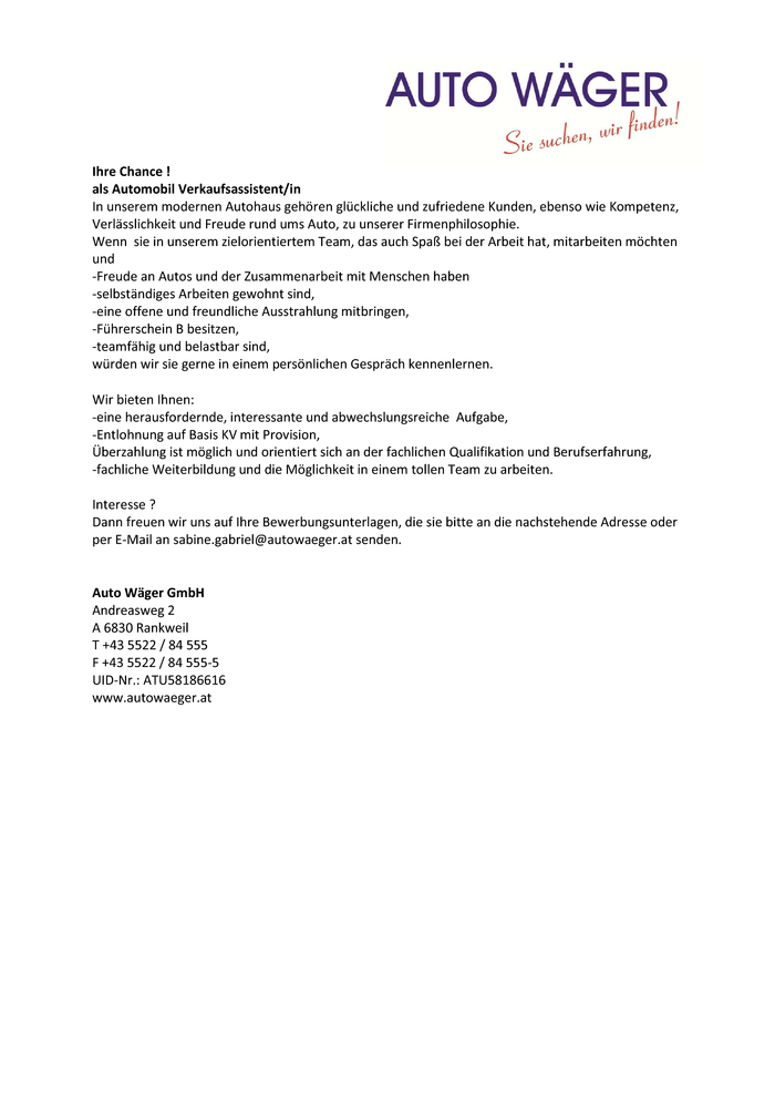 Automobil Verkaufsassistent/in
