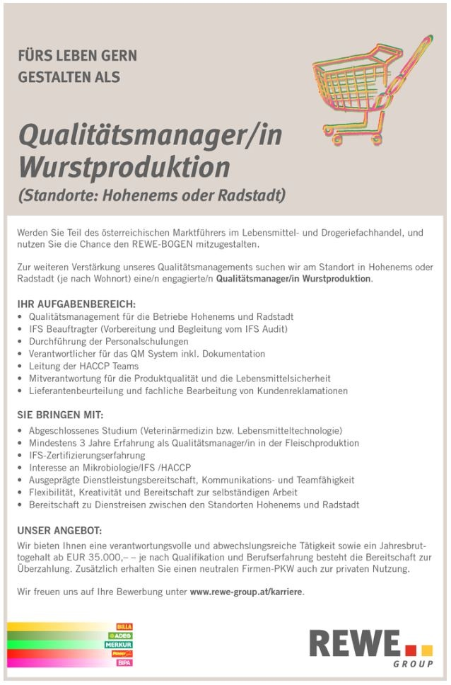 Qualitätsmanager/in Wurstproduktion