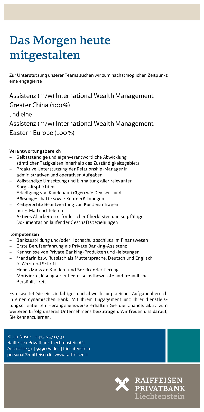 Assistenz (m/w) Intern. Wealth Management Greater China und Assistenz (m/w) Intern. Wealth Management Eastern Europe