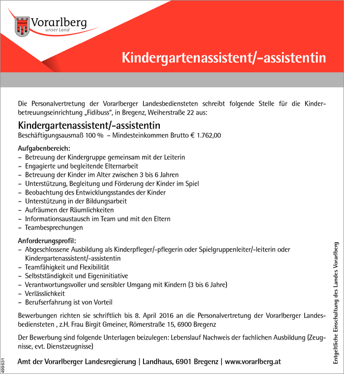 Kindergartenassistent/in