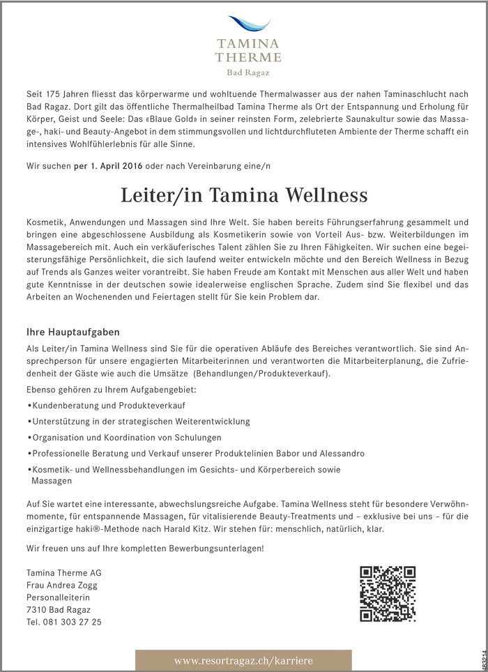 Leiter/in Tamina Wellness