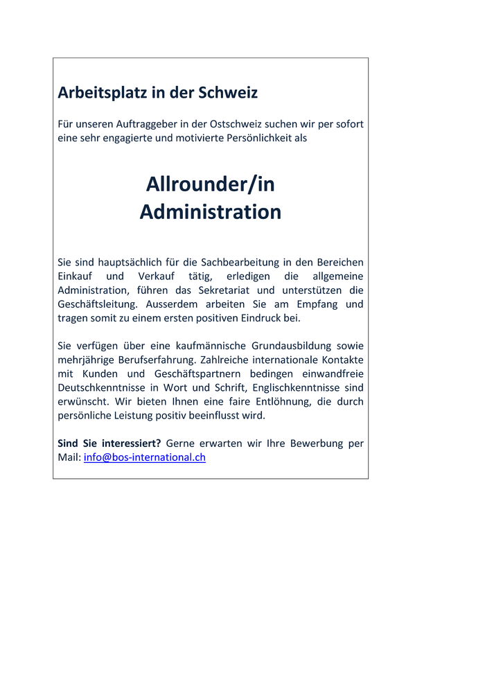 Allrounder/in Administration