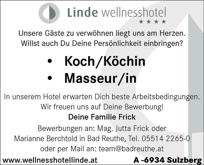 Koch/Köchin,  Masseur/in