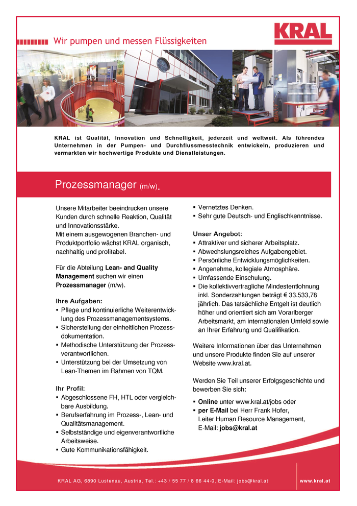 Prozessmanager (m/w).
