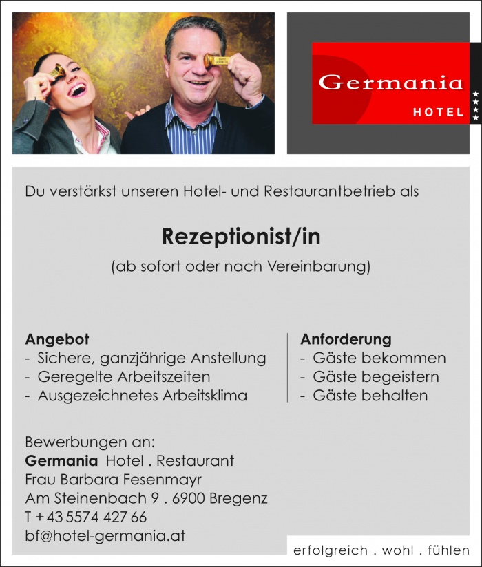 Rezeptionist/ -in