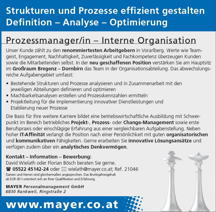 Prozessmanager/in - Interne Organisation