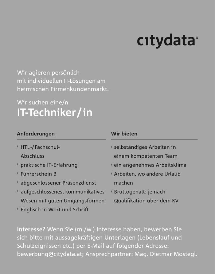 It techniker in citydatawir agieren pers nlich mit for Ict techniker