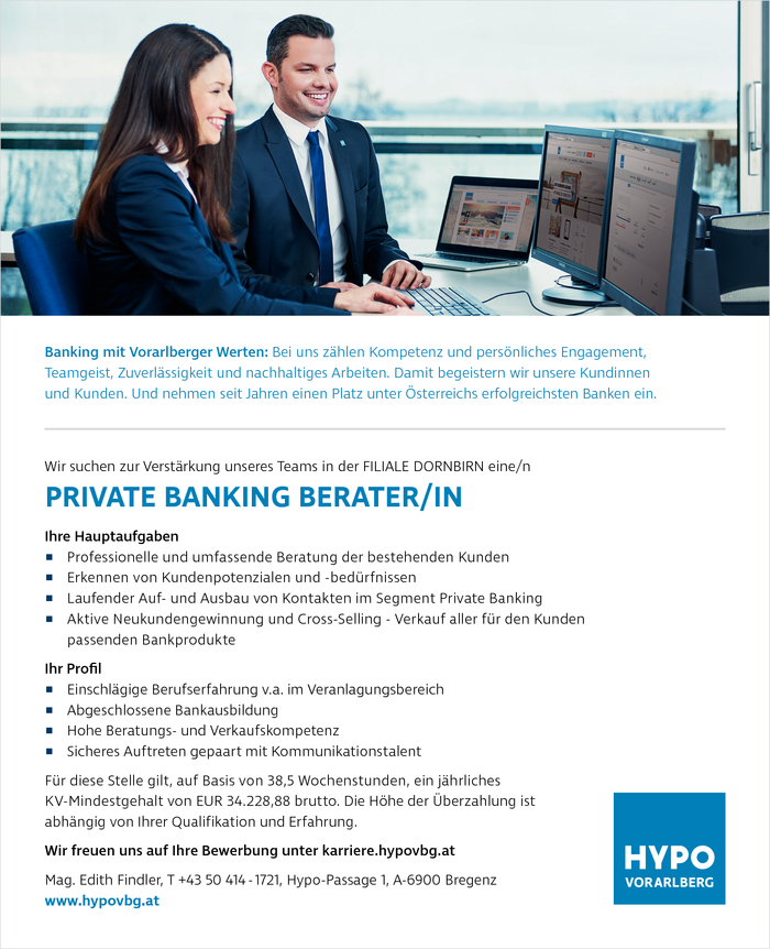 PRIVATE BANKING BERATER/IN - FILIALE DORNBIRN