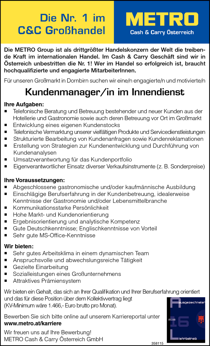 Kundenmanager/in