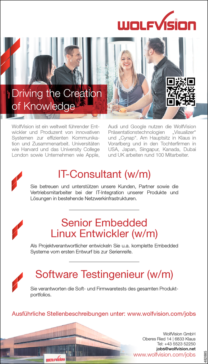 IT-Consultant/in, Senior Embedded Linux Entwickler/in, Software Testingenieur/in