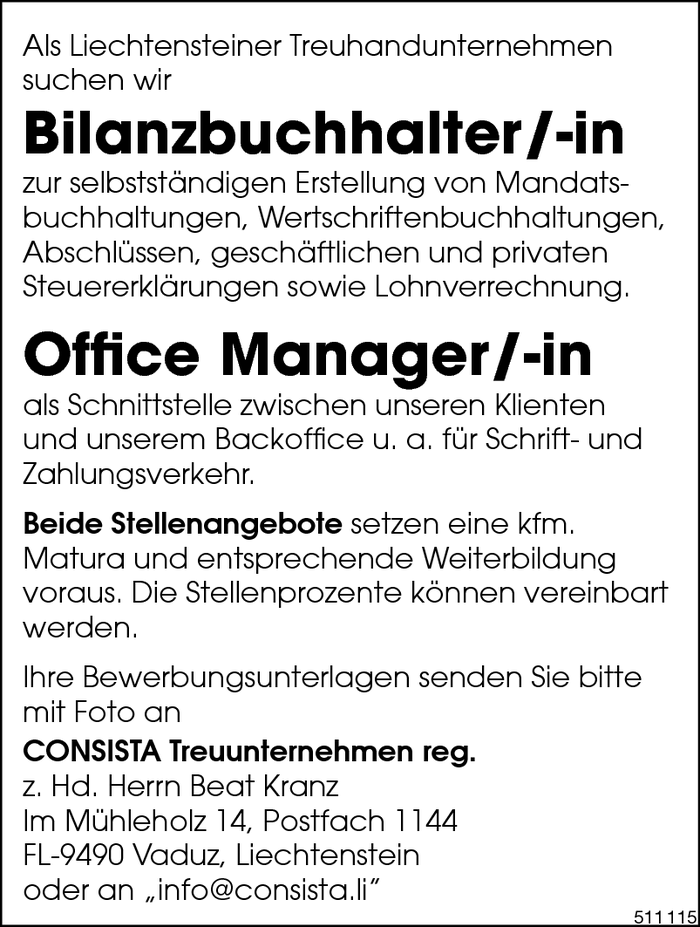Bilanzbuchhalter/in, Office Manager/in