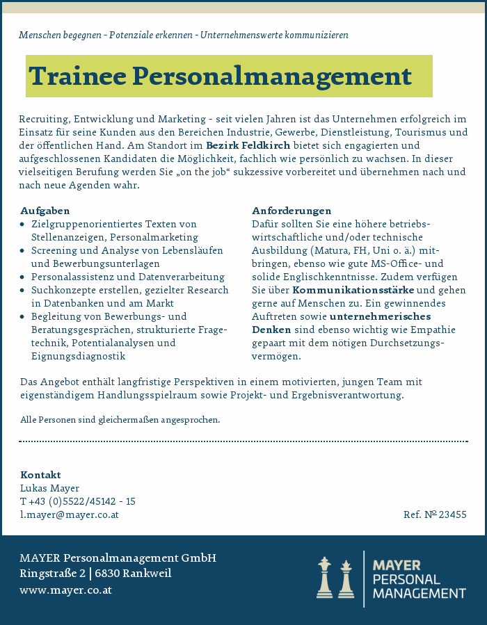 Trainee Personalmanagement