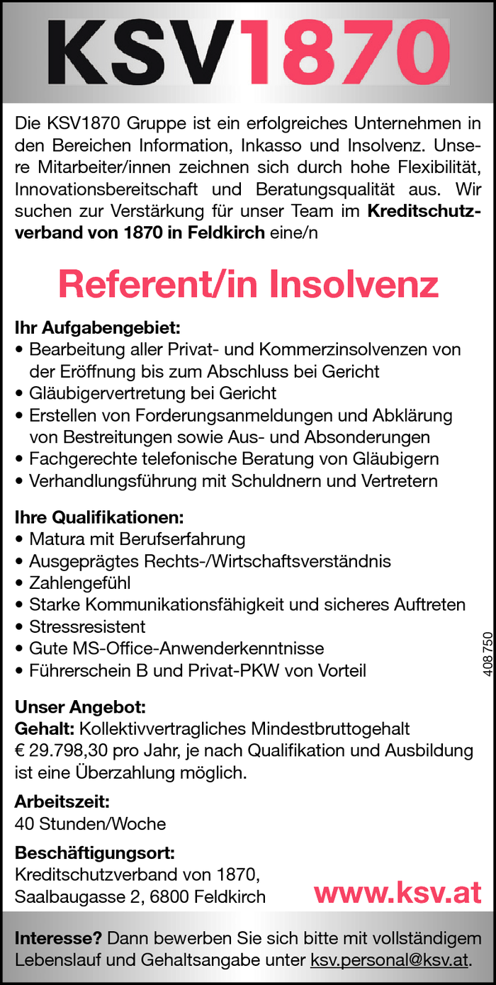 Referent/in Insolvenz