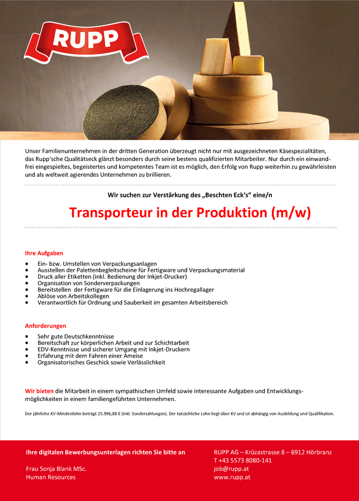 Transporteur in der Produktion (m/w)