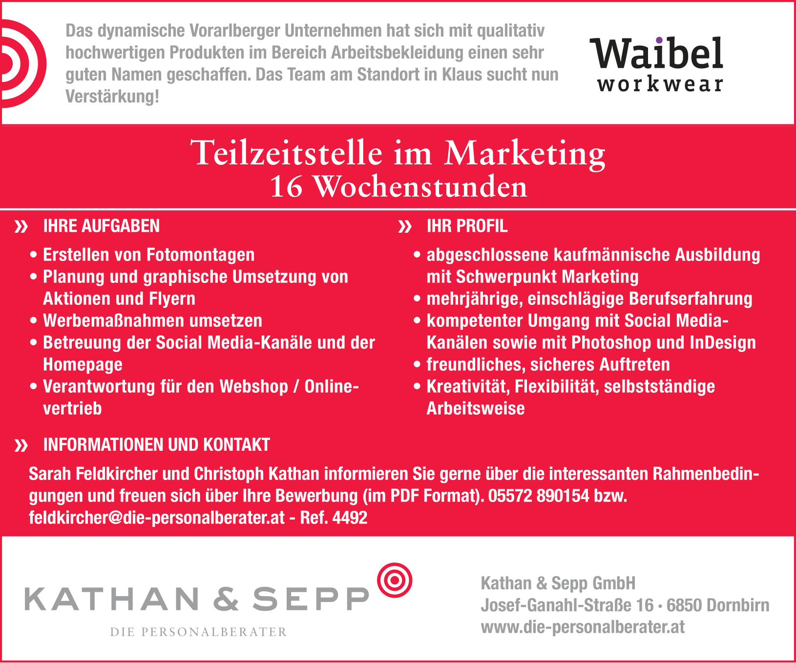 Teilzeitstelle im Marketing