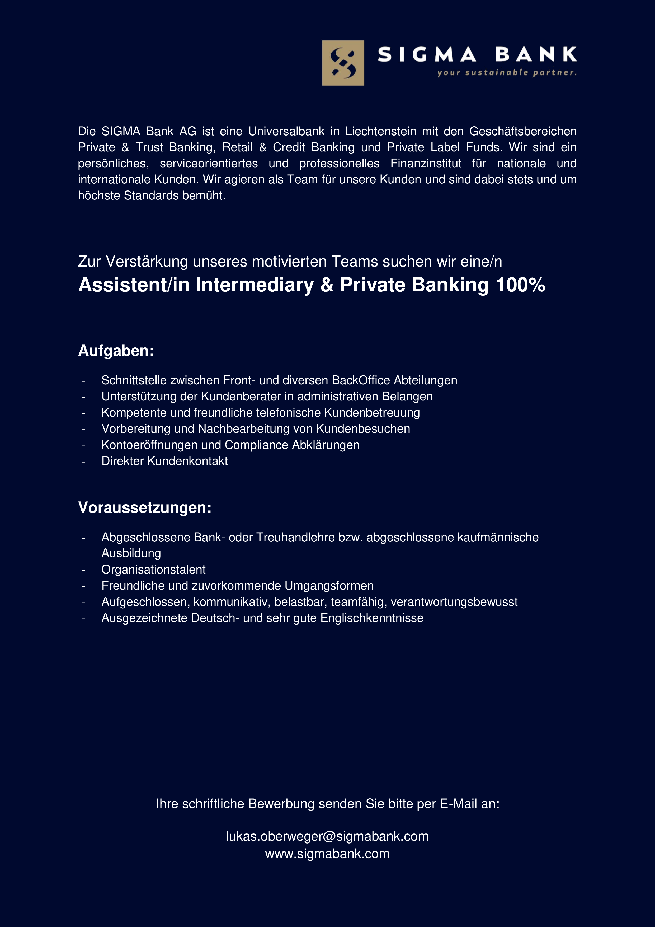 Assistent/in Intermediary & Private Banking 100%