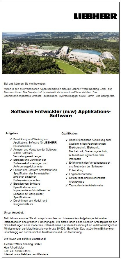 Software-Entwickler (m/w) Applikations-Software