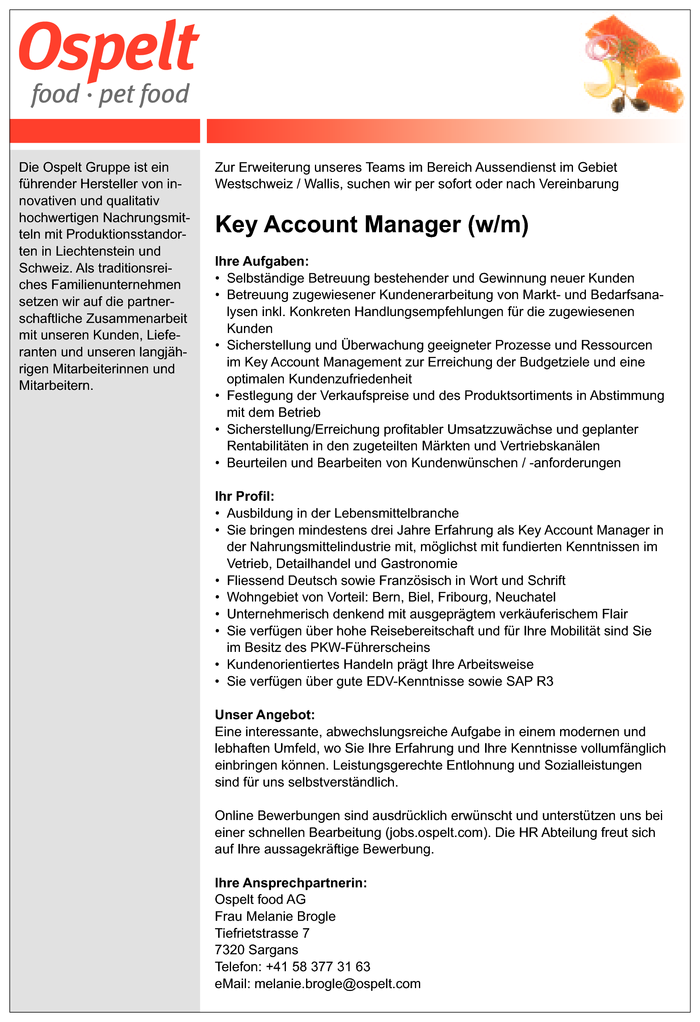 Key Account Manager (w/m)