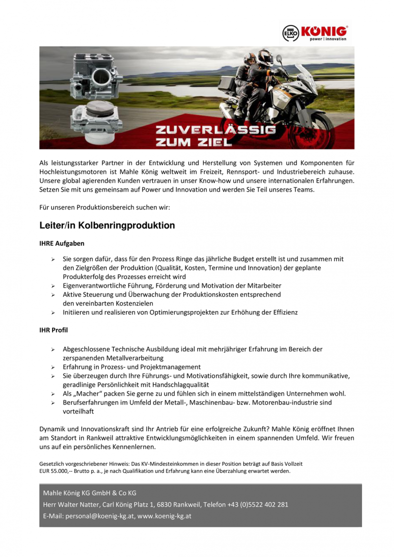 Leiter/in Kolbenringproduktion