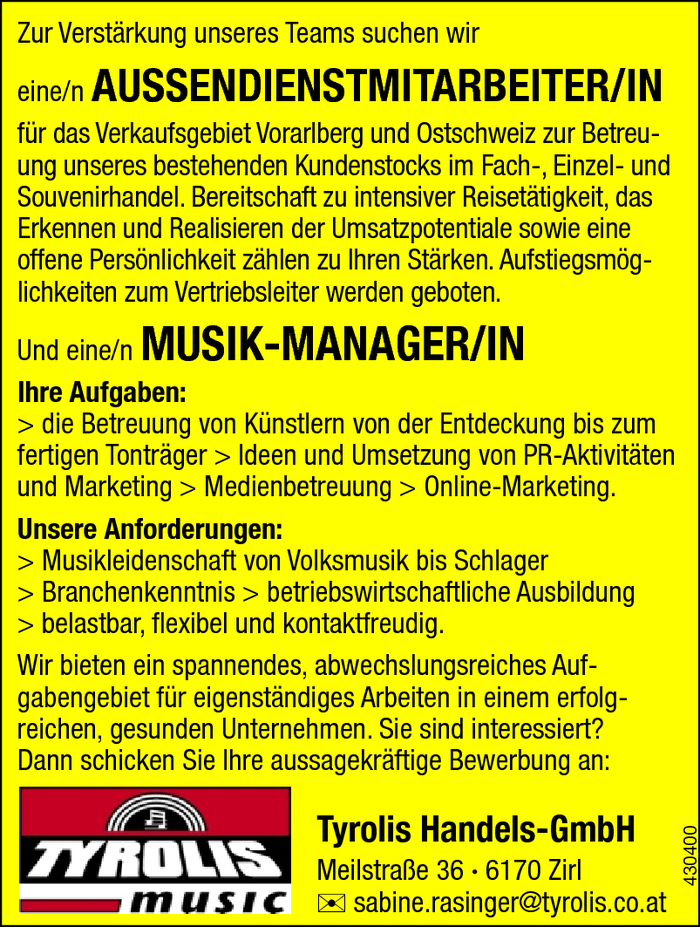 Aussendienstmitarbeiter/in, Musik-Manager/in