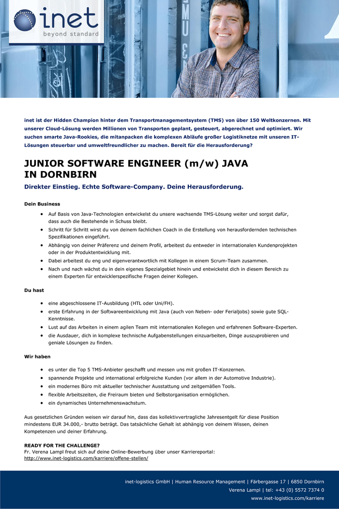 JUNIOR SOFTWARE ENGINEER (m/w) JAVA IN DORNBIRN