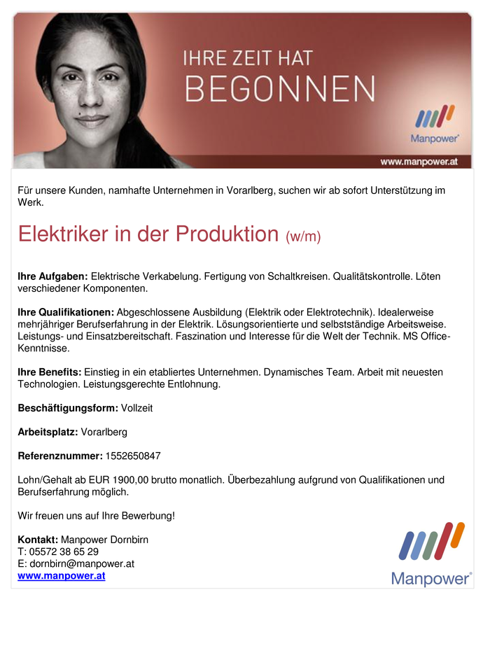 Elektriker in der Produktion (w/m)