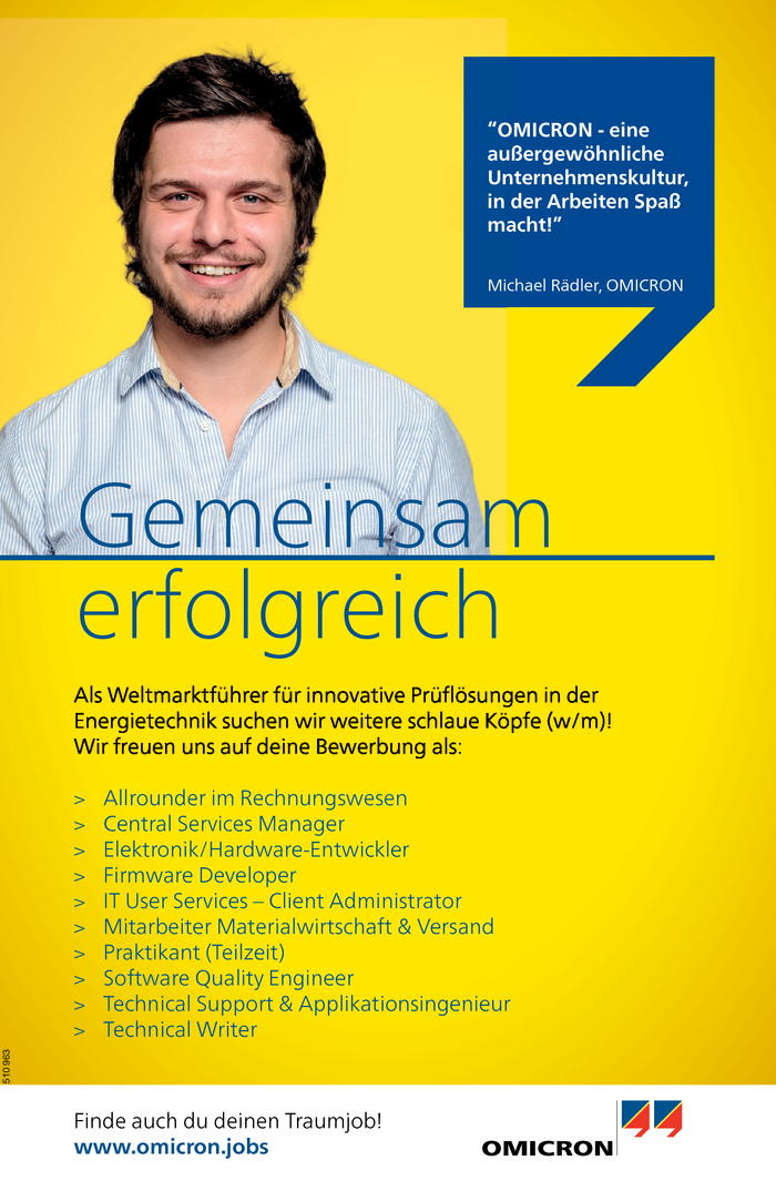 Rechnungswesen, Services Manager/in, Software/ Technical Entwickler/in, Administrator/in, Materialwirtschaft & Versand, Praktikant/in