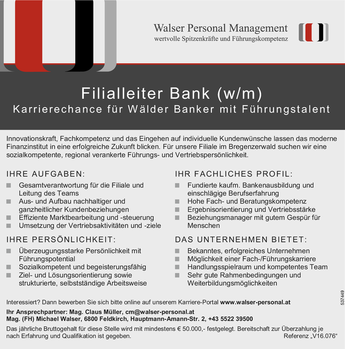 Filialleiter/in Bank