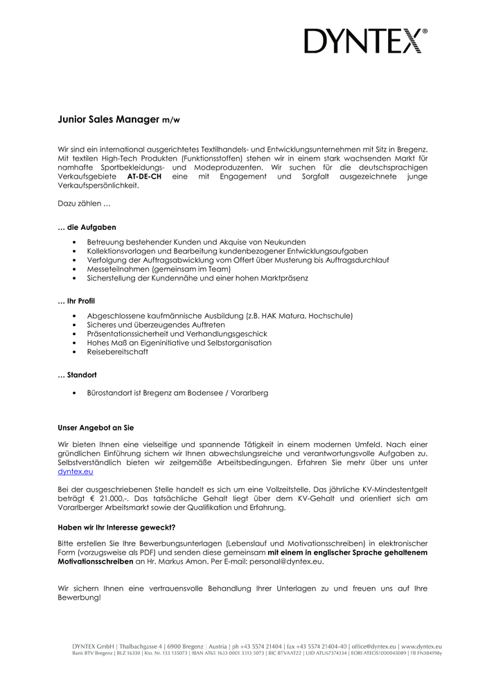 Junior Sales Manager m/w