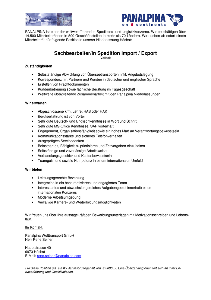 Sachbearbeiter/in Spedition Import / Export