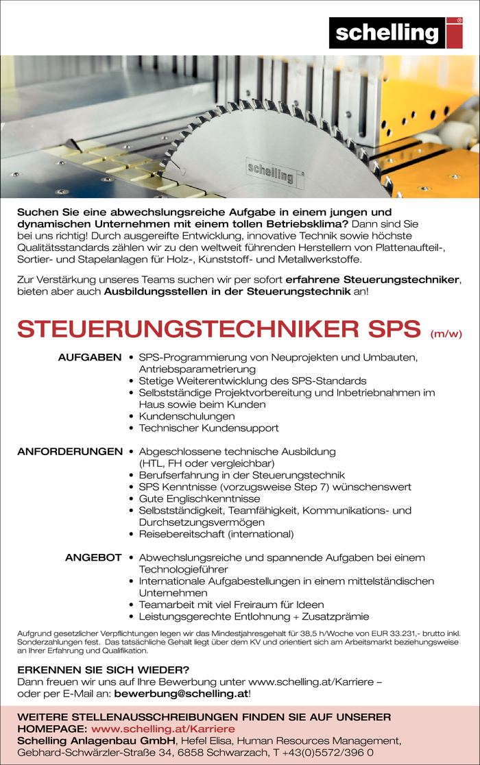 Steuerungstechniker/in Sps