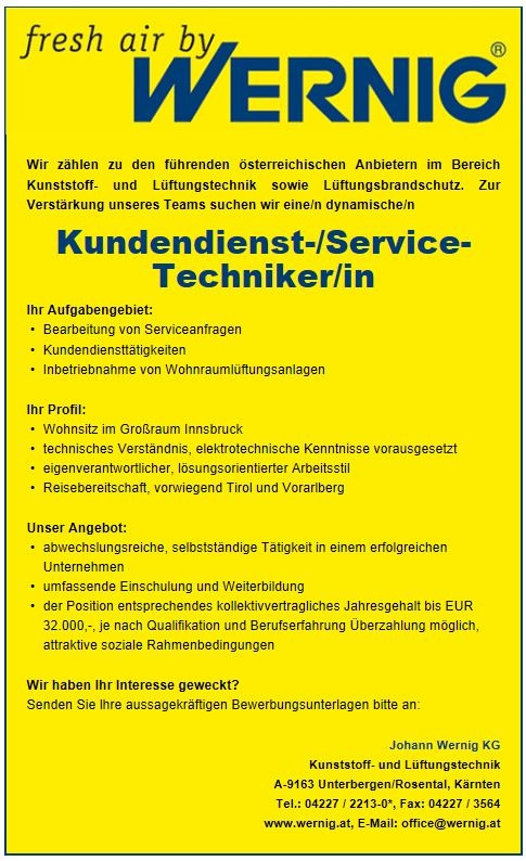 Kundendienst-/Service-Techniker/in