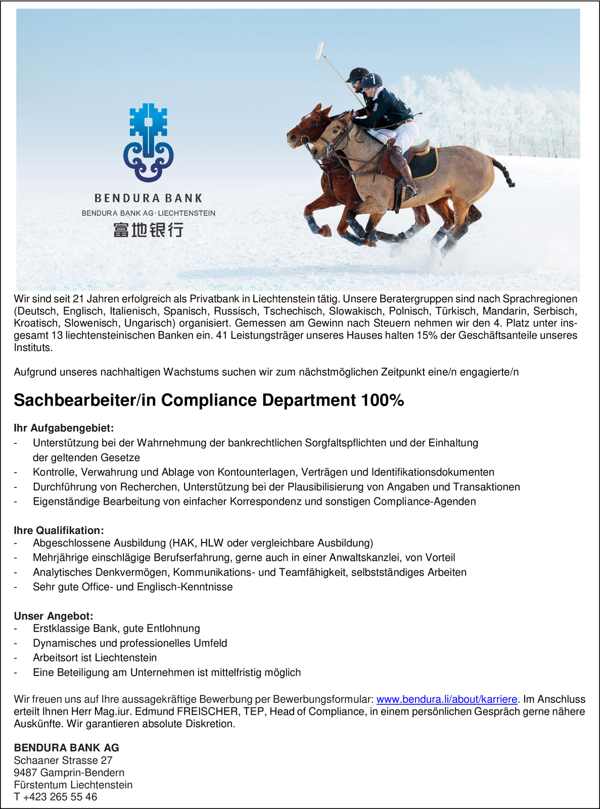 Sachbearbeiter/in Compliance Department 100%